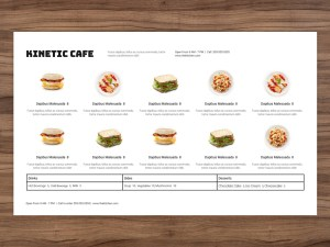 menu template horizontal