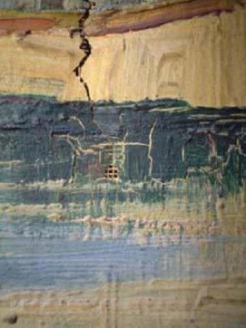 Détail d'une altération de la peinture
