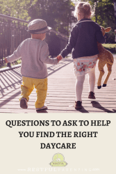 Finding the right daycare can seem like a daunting task. Probably one of the hardest decisions you will have to make in your baby's first years! We have compiled a downloadable list of questions you need to consider when meeting a potential daycare provider.