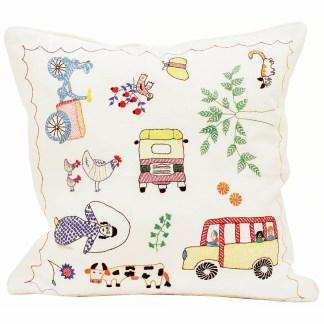 Afro Art Embroidered Dhaka Life Cushion | Fairtrade | Restoration Yard