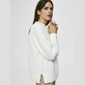 Selected Femme Baily Slit Jumper In Snow | Restoration Yard