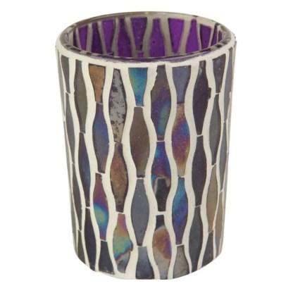 Ian Snow Lustre Glass Mosaic Votive Purple   Restoration Yard