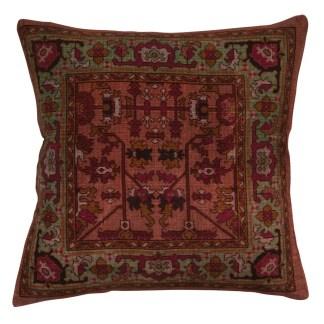 Ian Snow Pink Green Print Kaleidoscope Cushion | Restoration Yard