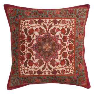 Ian Snow White Teal Print Kaleidoscope Cushion | Restoration Yard