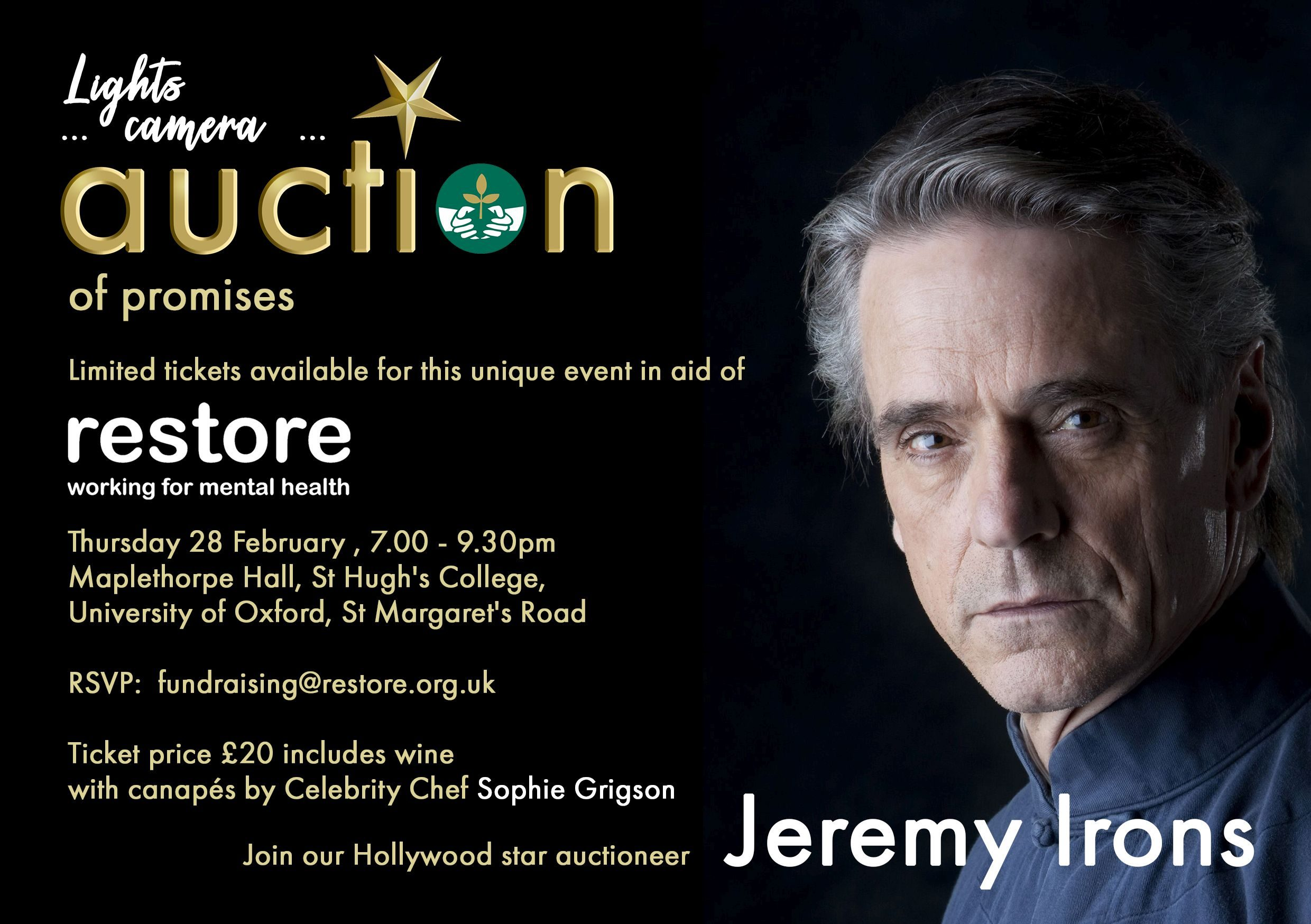Lights, camera, Auction of Promises…with Jeremy Irons
