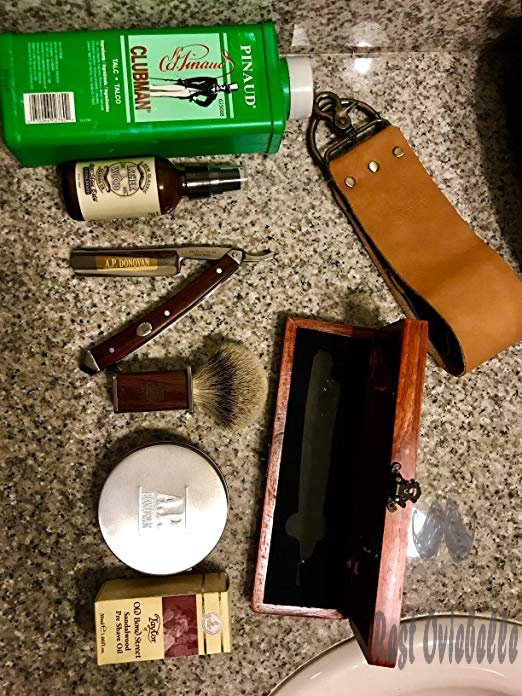 A.P. Donovan - Excellent 7/8 Straight razor Set - cut throat incl. Brush, shaving soap, Strop (blade is not stainless) - Mahogany Customer Image