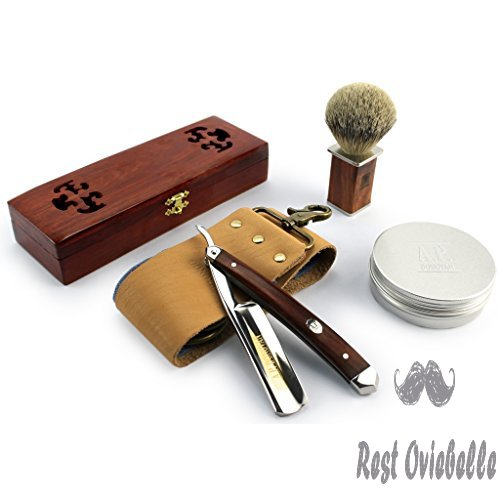 A.P. Donovan - Excellent 7/8 Straight razor Set - cut throat incl. Brush, shaving soap, Strop (blade is not stainless) - Mahogany