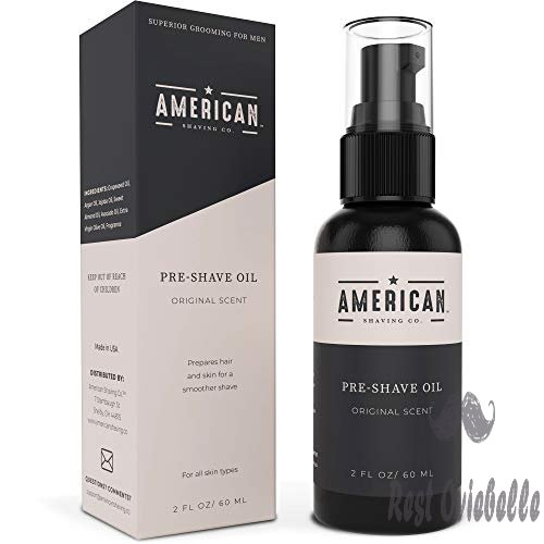 American Shaving Pre Shave Oil For Men (2oz) - Original Masculine Scent - 100% Natural Handcrafted Blend w/ Argan & Jojoba - Best Men's Shaving Oil for Effortless Irritation-Free Shaving