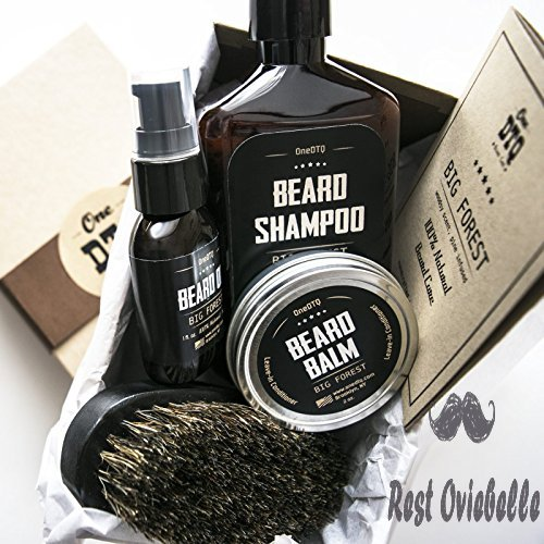 Big Forest Beard Treatment Kit - Shampoo 9 oz - Oil 1 oz - Beard Balm 2 oz - Brush - Wood Scent - 100% Natural and Organic Beard Growth Care Products in Premium Gift Box