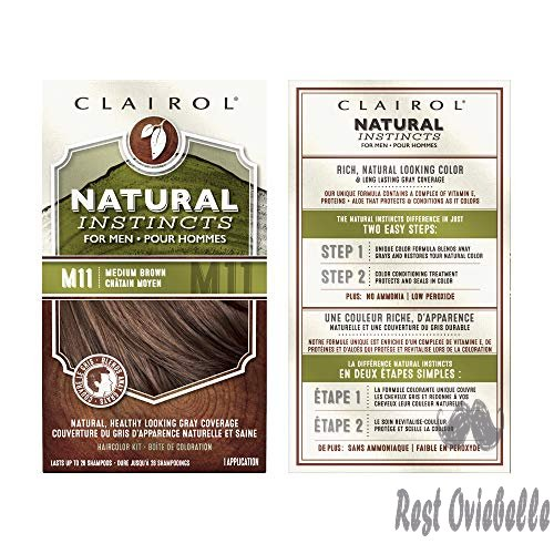 Clairol Natural Instincts Semi-Permanent Hair Color Kit For Men, 3 Pack, M11 Medium Brown Color, Ammonia Free, Long Lasting for 28 Shampoos  Image 2