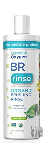 Essential Oxygen Certified BR Organic Brushing Rinse, All Natural Mouthwash for Whiter Teeth, Fresher Breath, and Happier Gums, Alcohol-Free Oral Care, Peppermint, 16 Ounce