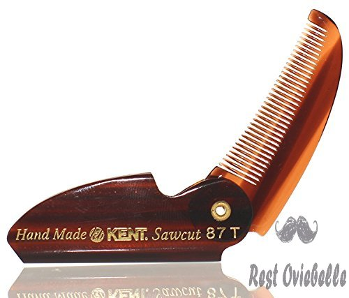 Kent 87T 2 1/2 70mm Brand New Limited Edition Folding Beard & Mustache Comb by Kent Combs