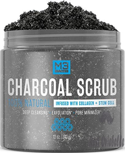 M3 Naturals Activated Charcoal Scrub Infused with Collagen & Stem Cell All Natural Body & Face Skin Care Exfoliating Blackheads Acne Scars Pore Minimizer Reduces Wrinkles Anti Cellulite12 OZ