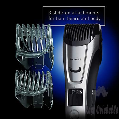 Panasonic Body and Beard Trimmer for Men ER-GB80-S, Cordless/Corded Hair Clipper, 3 Comb Attachments and 39 Adjustable Trim Settings, Washable  Image 4