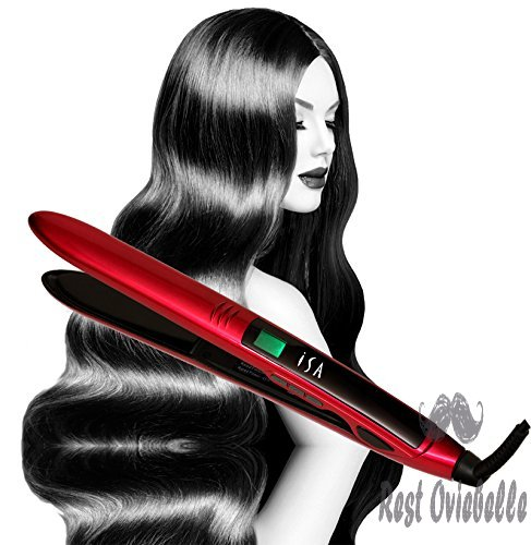 Titanium Flat Iron Digital Hair Straightener by Isa Professional 1 Inch 2 Year Warranty