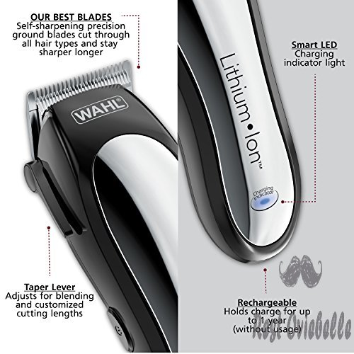Wahl Lithium Ion Cordless Rechargeable Hair Clippers and Trimmers for men,Hair Cutting Kit with 10 Guide Combs by The Brand used by Professionals.   #79600-2101  Image 1