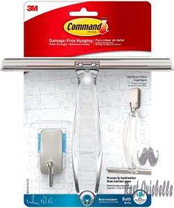 Command Satin Nickel Shower Squeegee