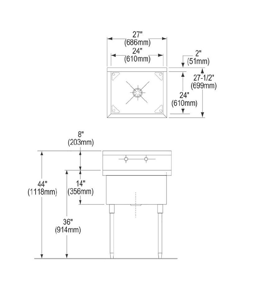 elkay stainless steel 81242 sturdibilt scullery sink single compartment no drainboard