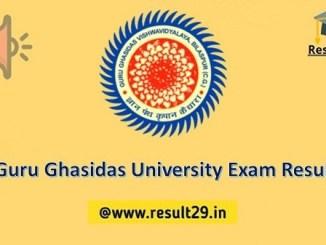 Guru Ghasidas University Exam Result