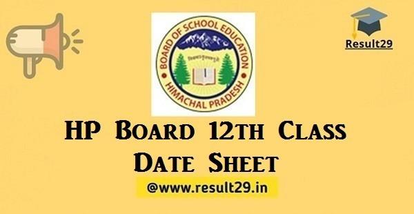 HP Board 12th Class Date Sheet