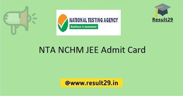 NTA NCHM JEE Admit Card