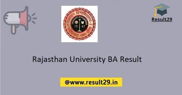 Rajasthan University BA Result