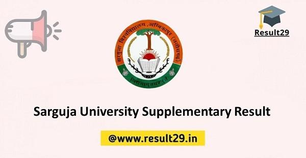 Sarguja University Supplementary Result