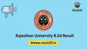 Rajasthan University B.Ed Result