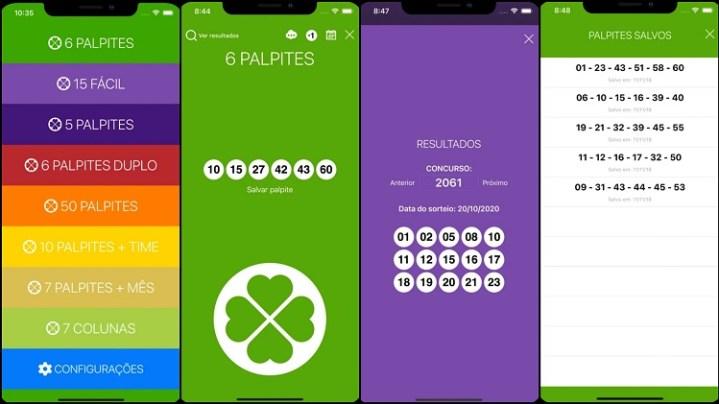 prints de tela do app Palpiteiro