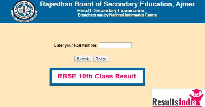 Rajasthan Board RBSE 10th Class Result 2018