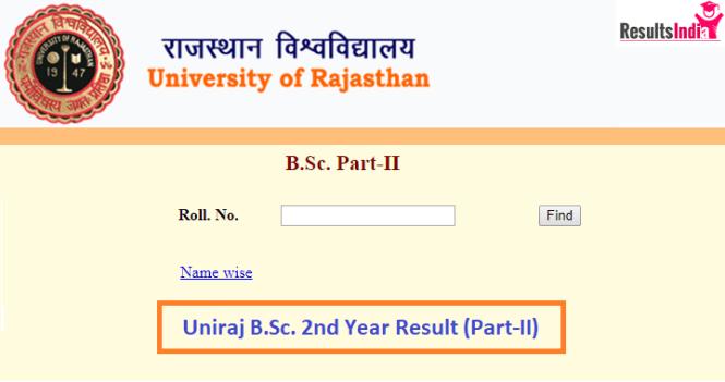 Uniraj B Sc 2nd Year Result 2019- Check Rajasthan University