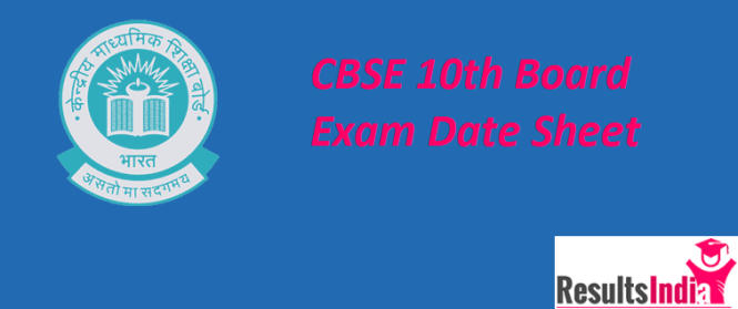 CBSE 10th Class Date Sheet 2019 (Time-Table)