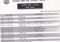 Raj Board 10th Time Table 2019