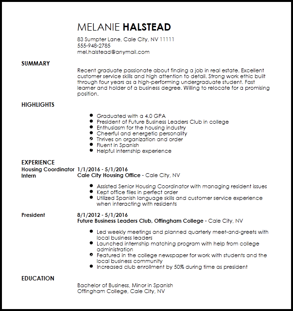 Free Entry Level Apartment Leasing Consultant Resume Template Resume Now
