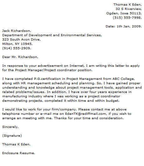 Project Manager Cover Letter Examples Resume Now