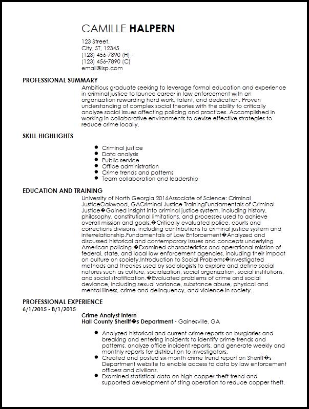 Free Entry Level Law Enforcement Resume