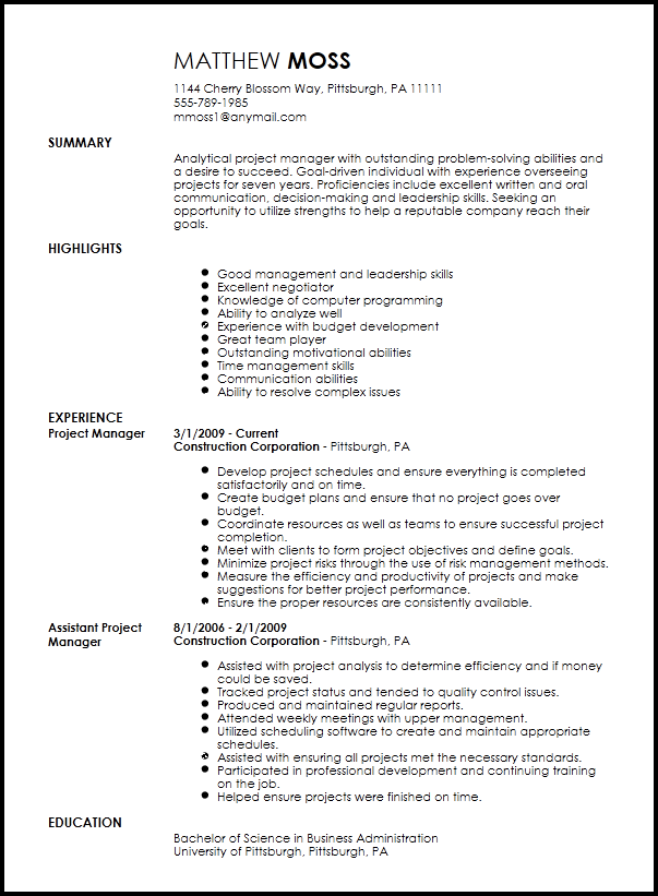 To show a potential employer that you have the ability to lead a team, create a. Free Professional Project Manager Resume Template Resume Now