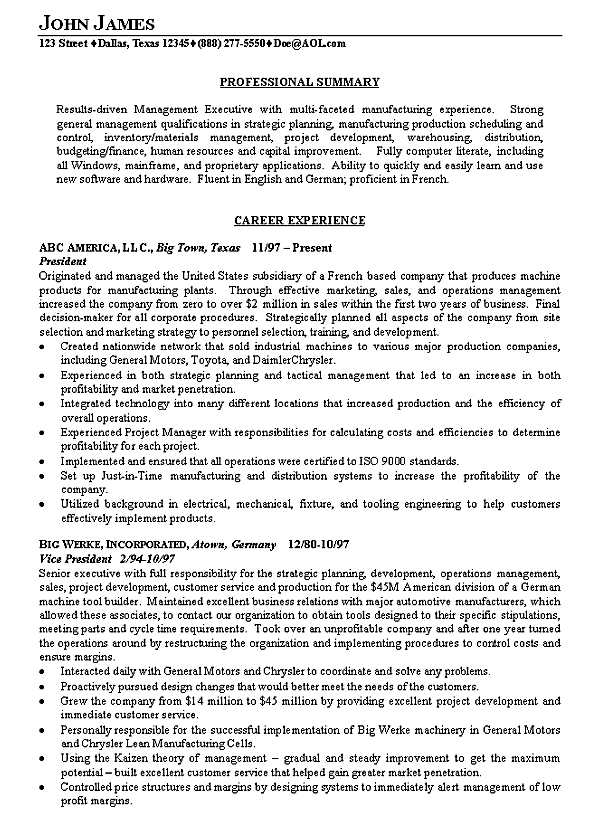 Executive Resume Example  Summary Of Qualifications Examples For Resume