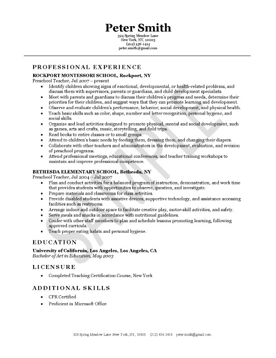 Sample Teacher Resume Sample Teacher Resume No Experience Template Net  Sample Teacher Resume Sample Teacher Resume  Resume Preschool Teacher