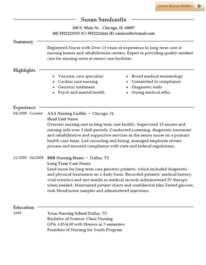 Home Health Nurse Resume Examples - Resume Sample