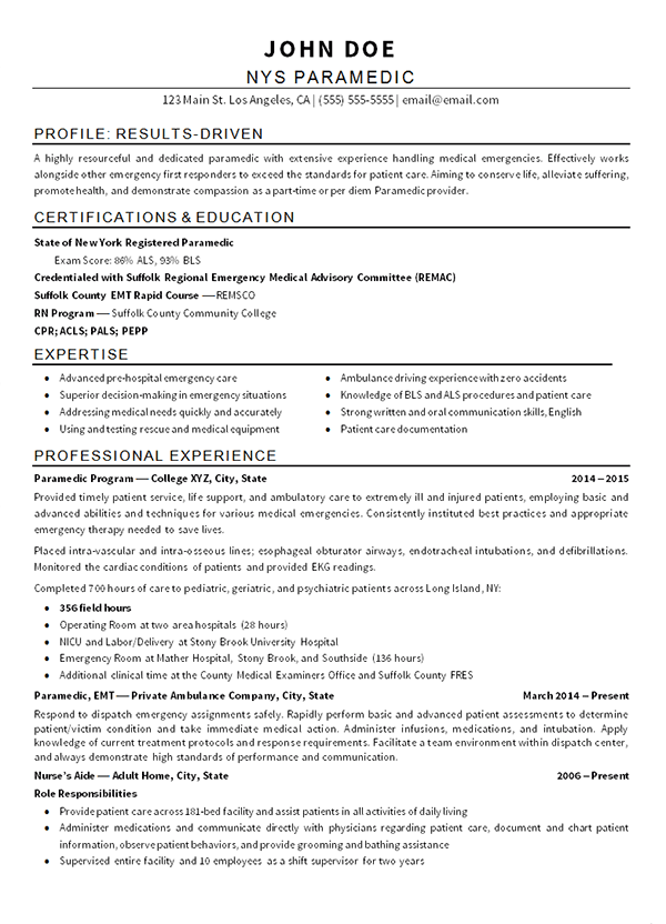 emt paramedic resume exle sourceline