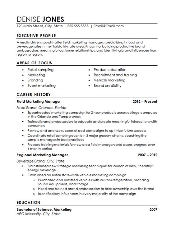 Marketing Major Resume - Resume Sample