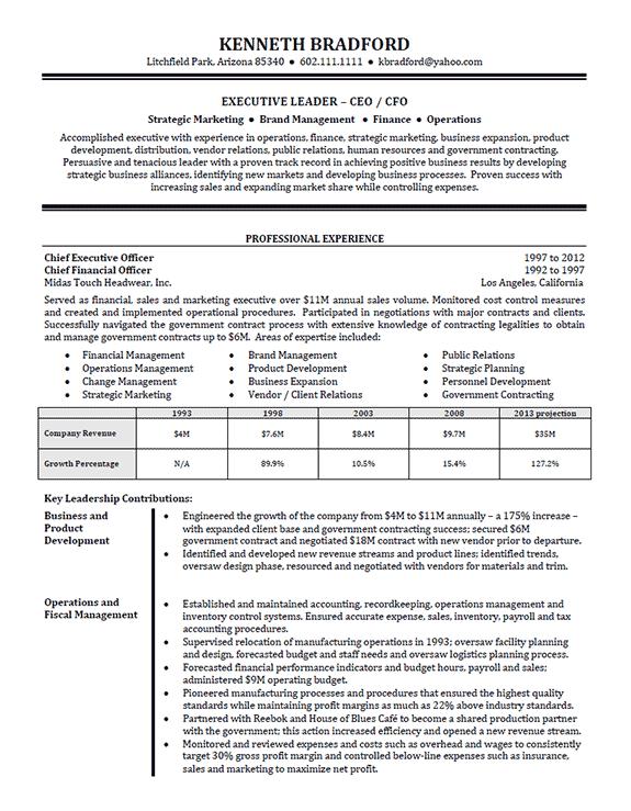 High Level Executive Resume Example