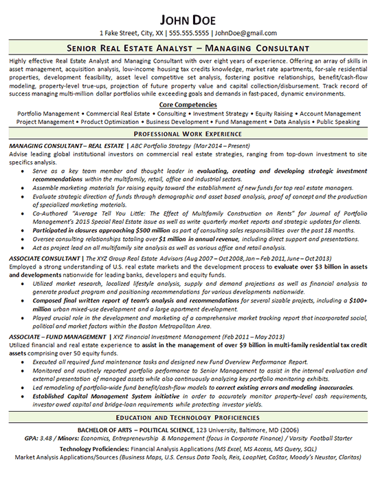 Real Estate Resume Example Consultant