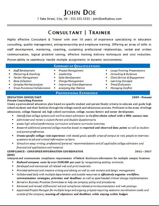 Consultant Trainer Resume Example Education Amp Staff Development