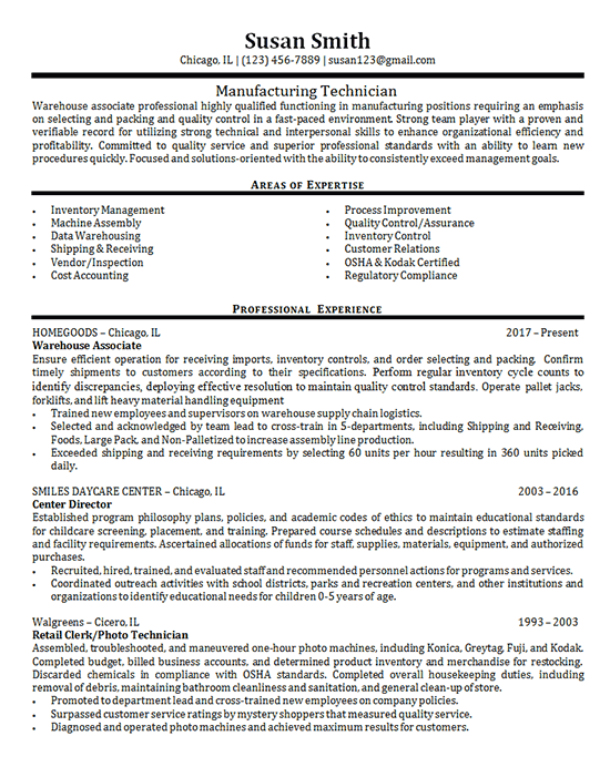 Professional resume templates for 2021 + tips. Manufacturing Technician Example