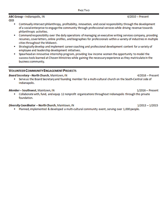 She had filled three of her unemployed years with volunteer work (in addition to parenting), and wanted to continue in a nonprofit. Nonprofit Manager Resume Example Executive Director