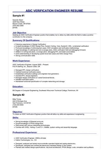 2 Asic Verification Engineer Resume Samples