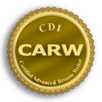 Certified Advanced Resume Writer CARW logo. Earned advanced resume writing certification from Career Directors International.