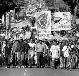 October 1992, Native Americans and their supporters march to commemorate 500 years of Indigenous resistance. Photo: Bill Hackwell